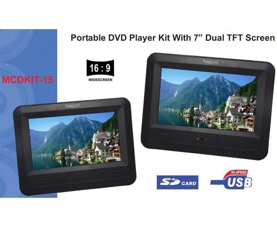 Marquant dual screen portable DVD-speler 7 inch met DVD Happy feet 2
