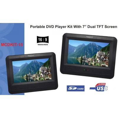 Marquant dual screen portable DVD-speler 7 inch met DVD Happy feet 2